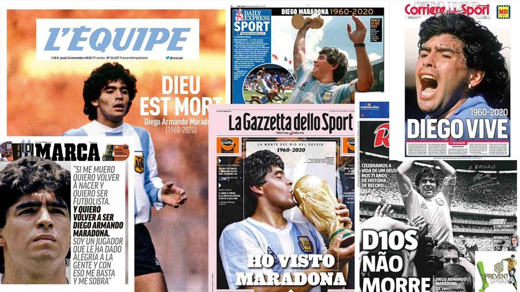 Las portadas de la prensa mundial para despedir a Diego Maradona