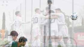 Carlos Dotor remata de cabeza para hacer el gol del Real Madrid Castilla ante el Atlético Baleares y celebra con el equipo su tanto en un fotomontaje