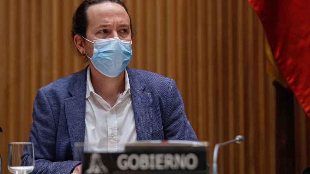 Pablo Iglesias, durante su comparecencia de este jueves.