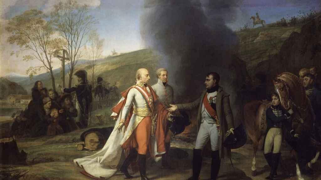 Encuentro entre Napoleón I y Francisco II después de la batalla de Austerlitz. Un lienzo de Antoine Jean-Gros.