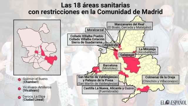 Estas son las 18 zonas sanitarias restringidas en Madrid: salen 13 y se añade una nueva