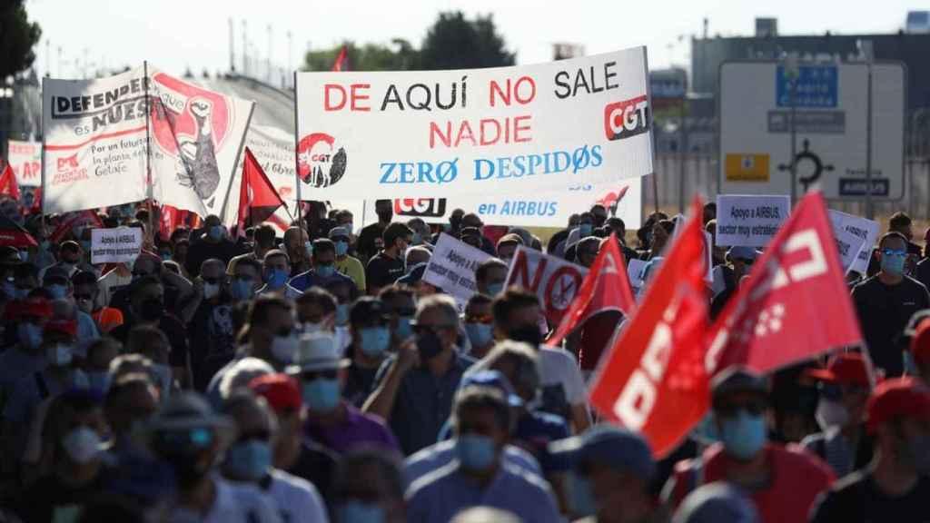 Una imagen de archivo de una protesta de los trabajadores de Airbus.