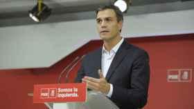 Pedro Sánchez en la sede del PSOE.