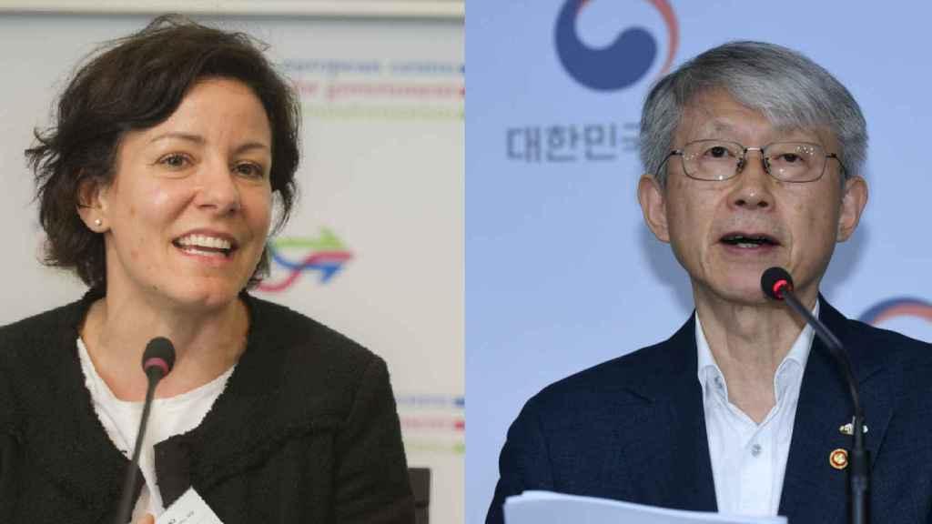 Paola Pisano, ministra de Innovación Tecnológica y Digitalización de Italia, y Choi Kiyoung, ministro de Ciencia y TIC de Corea del Sur. Ambos participaron el viernes en la presentación del informe 'Digital Economy Outlook 2020' de la OCDE.