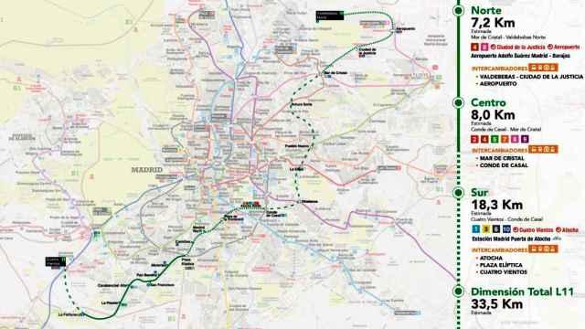 Mapa de la nueva línea 11.