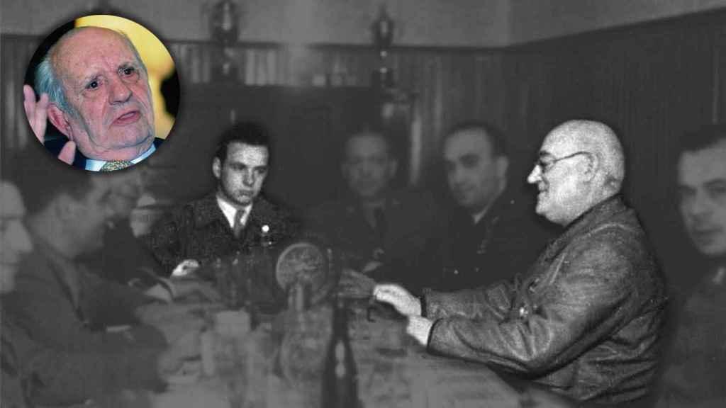 Fernando Rodríguez Miaja, en una cena con su tío durante la Guerra Civil.