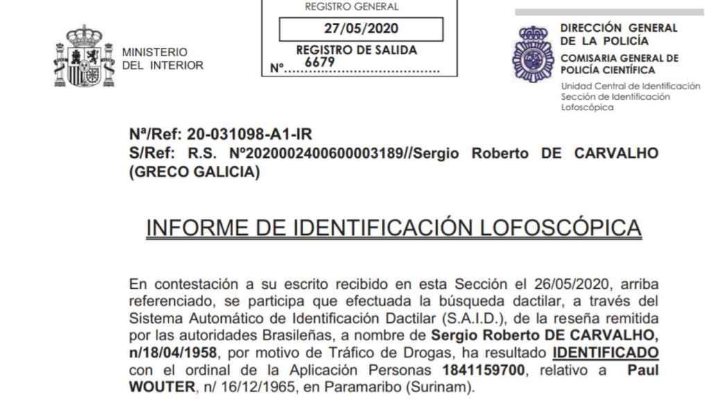 Informe de identificación lofoscópica enviado por la Policía Nacional al juez instructor.