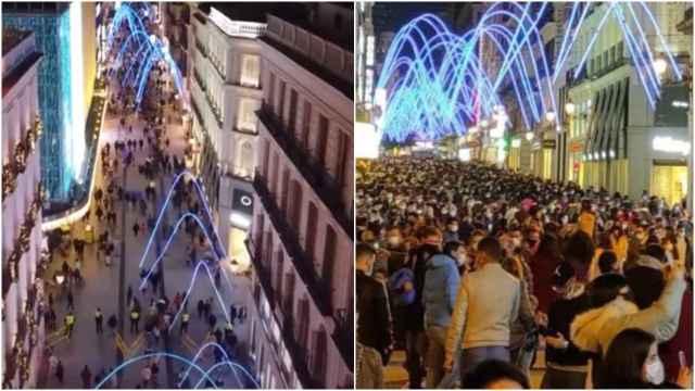 Las imágenes de los drones (a la izquierda) contra las de aglomeraciones (derecha).