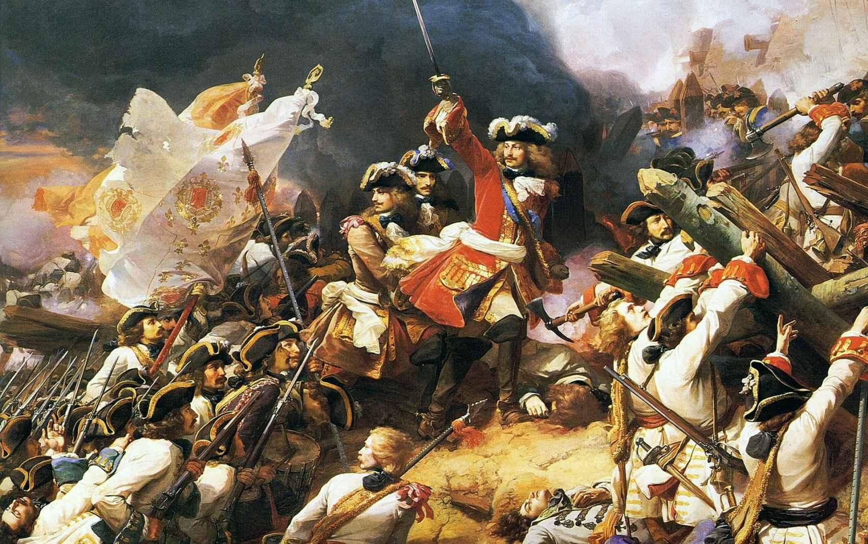 Representación de la Batalla de Denain, donde los barbones consiguieron una gran victoria.