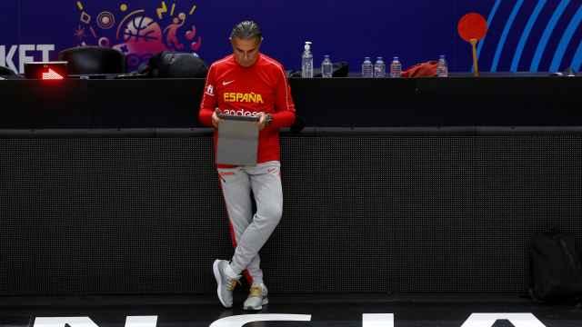 Sergio Scariolo, durante un entrenamiento con la selección española de baloncesto