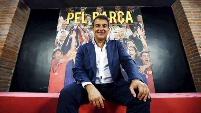 Laporta, en una sesión de fotos para su candidatura a la presidencia del Barça en 2015