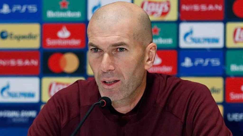Zinedine Zidane, en rueda de prensa de la Champions League