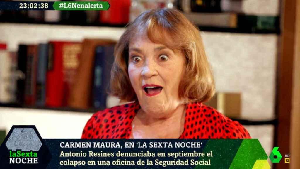 Carmen Maura durante su entrevista en 'La Sexta Noche'.