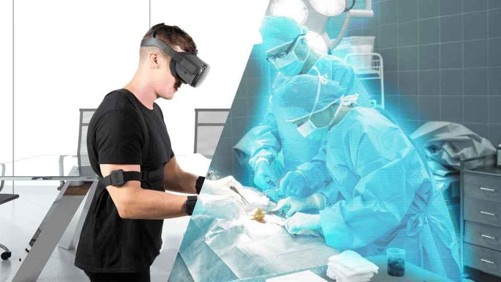 Una simulación de cómo se pueden usar estos guantes hápticos para la formación en el sector salud.