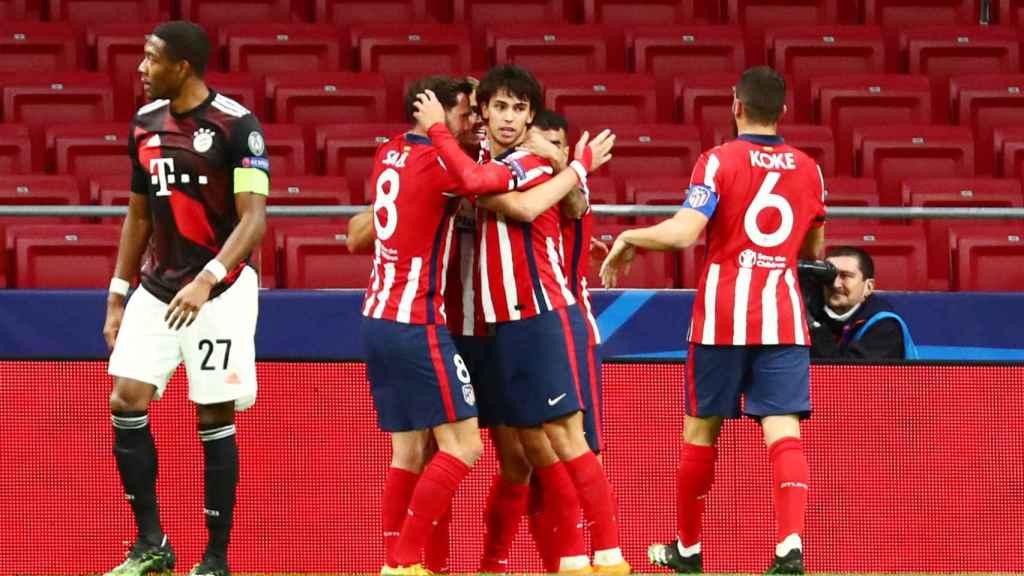 El Atlético celebra el gol de Joao Félix