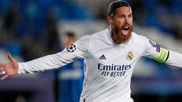 Sergio Ramos celebra un gol en la Champions League