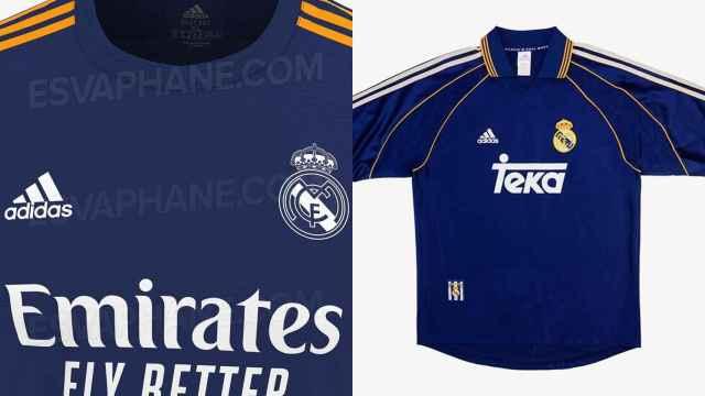 El diseño de la segunda camiseta del Real Madrid para la temporada 2021/2022 y la de la temporada 1998/1999