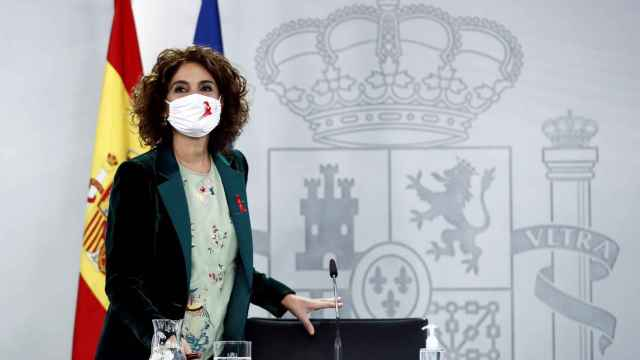 María Jesús Montero, este martes en la sala de prensa de La Moncloa.