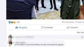 El post de Susana Díaz en Facebook en el que recibe una amenaza.
