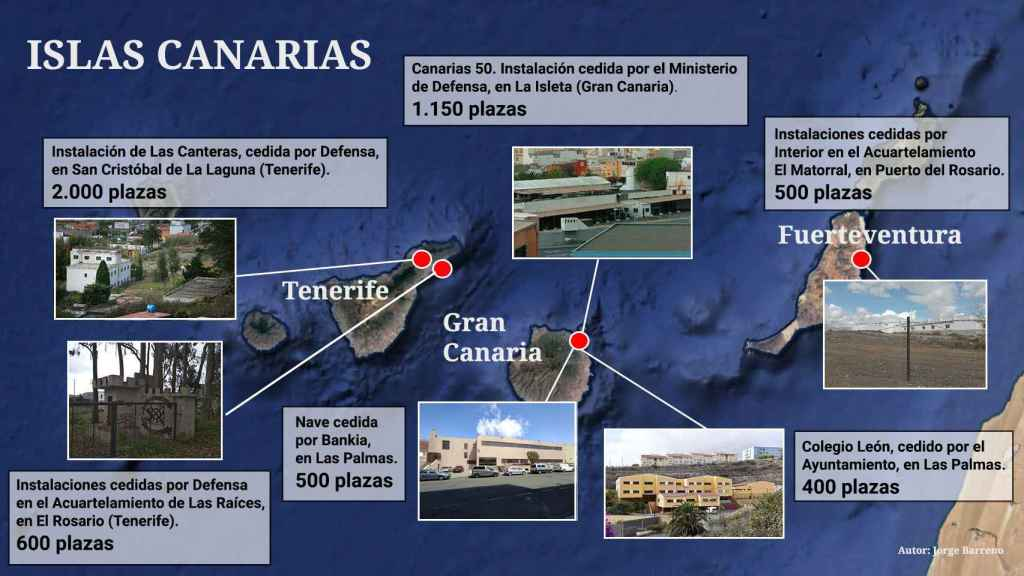 Ubicación de los centros de acogida de inmigrantes en Canarias.