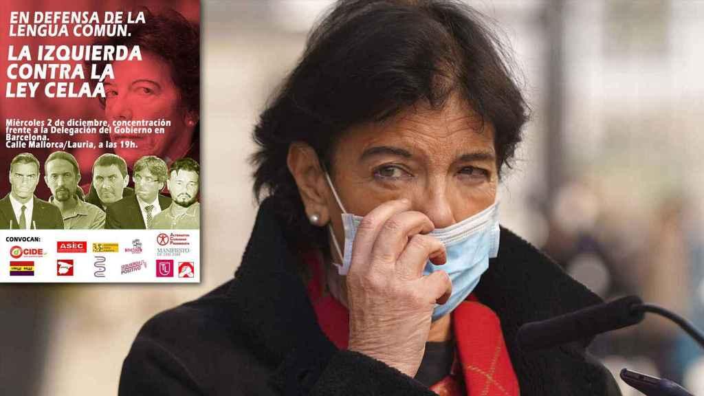 La ministra de Educación, Ley Celaá, junto al cartel que anuncia la manifestación de los colectivos progresistas.