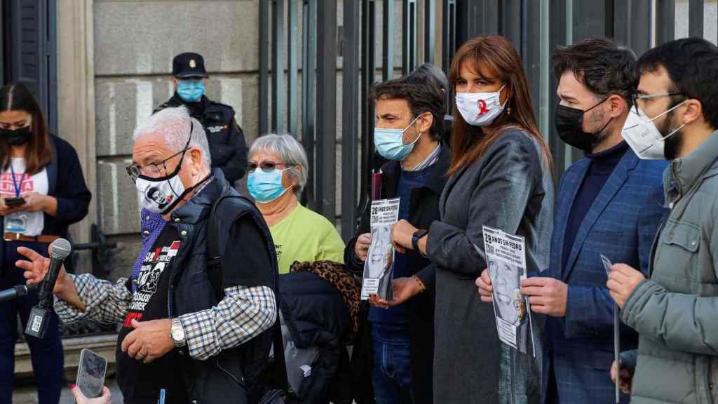 Jaume Asens, presidente del grupo de Unidas Podemos, con los portavoces parlamentarios del independentistas catalanes.
