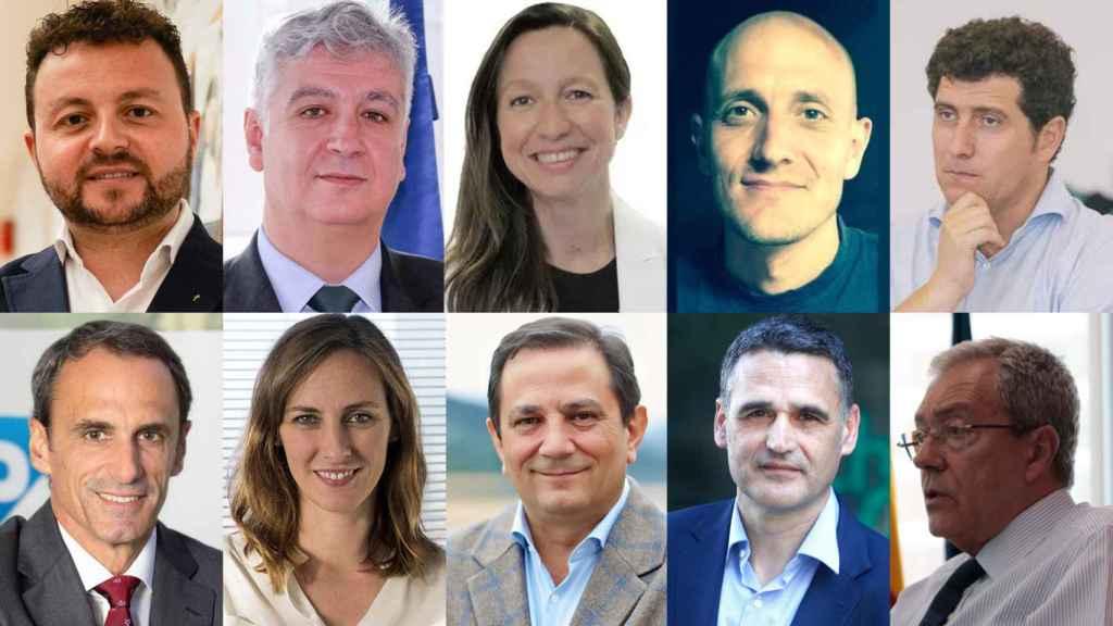 De izq. a dcha. y de arriba abajo, Eduardo Gómez Martín, director general de ESIC; Áureo Díaz-Carrasco, director de FEDIT; Helena Torras, Managing Partner de PaoCapital; David Yáñez, CEO y fundador de Vortex Bladeless; Nacho Mas, CEO de Startup Valencia; Rafael Brugnini, director general de SAP España; Paloma Real, directora general de Mastercard España; Rogelio Pozo, CEO de AZTI; Josu Ugarte, presidente de la Zona Ibérica en Schneider Electric; y Rogelio Velasco, Consejero de Transformación Económica, Industria, Conocimiento y Universidades de la Junta de Andalucía.