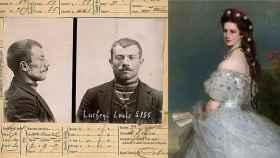 Ficha policial de Luigi Lucheni y retrato de Sissi.