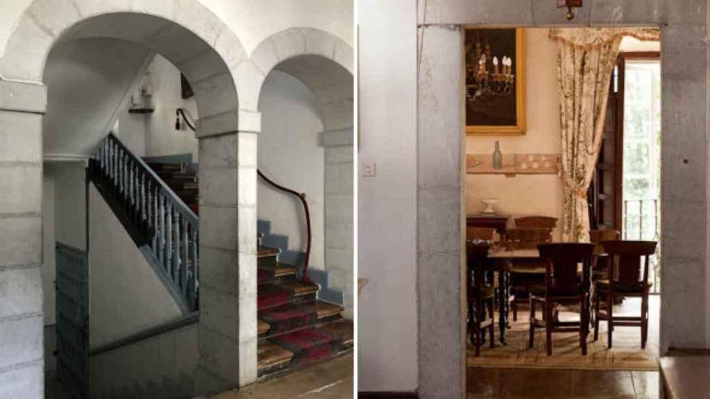 Imagen del salón y la gran escalera de mármol que es la columna vertebral de la casa.
