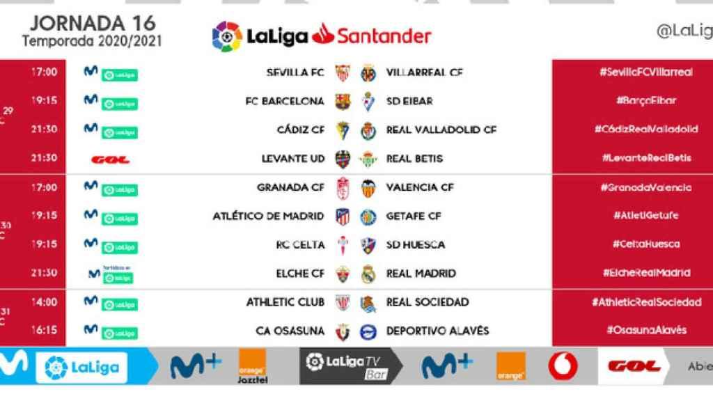 Los horarios de la jornada 16 de La Liga 2020/2021