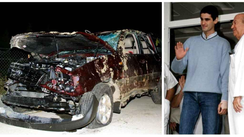 Jesulín en montaje junto al estado en el que quedó su coche en 2001.