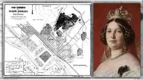Mapa de 'Eras del bosque' e Isabel II de España.