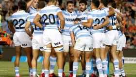 Los Pumas, selección de Argentina de rugby, durante una 'piña'