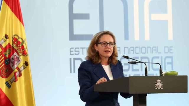 La vicepresidenta tercera y ministra de Asuntos Económicos y Transformación Digital, Nadia Calviño, durante su intervención.