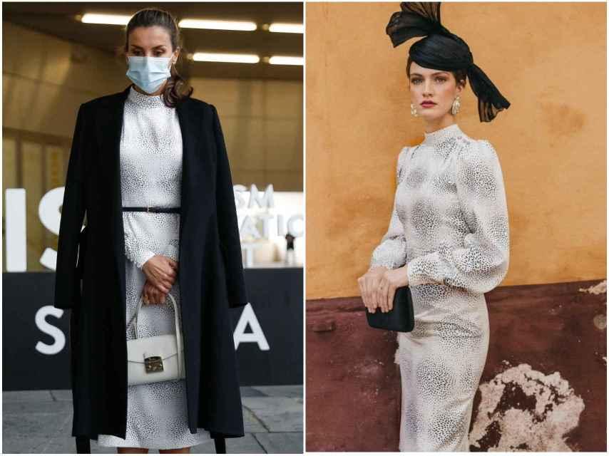 La reina Letizia con vestido de Cherubina y la modelo de la firma.