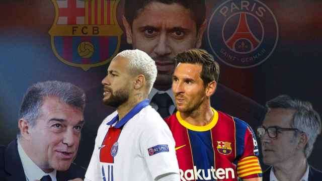 Joan Laporta, Neymar Jr., Nasser Al-Khelaifi, Leo Messi y Víctor Font, en un fotomontaje