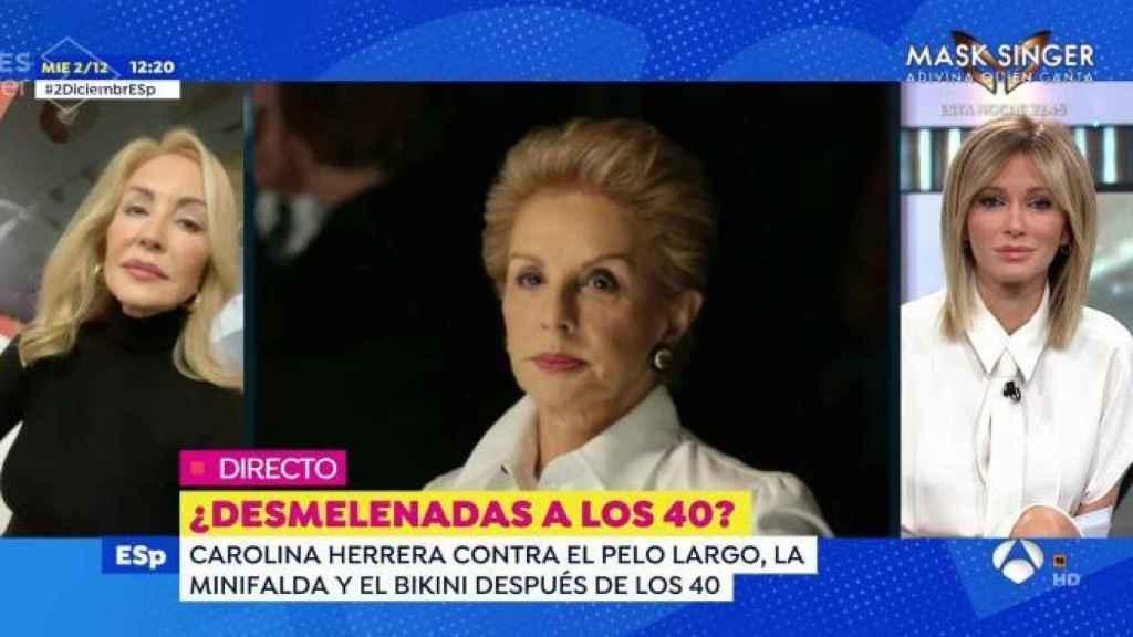 Carmen Lomana y Susanna Griso opinando sobre las palabras de Carolina Herrera.