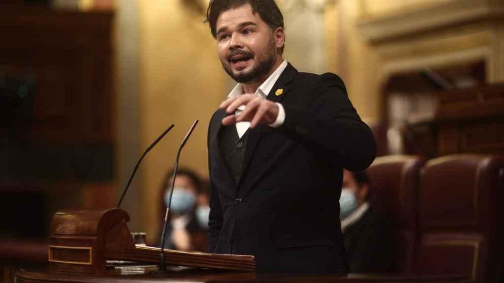 Gabriel Rufián, en su intervención de este jueves en el Congreso de los Diputados.