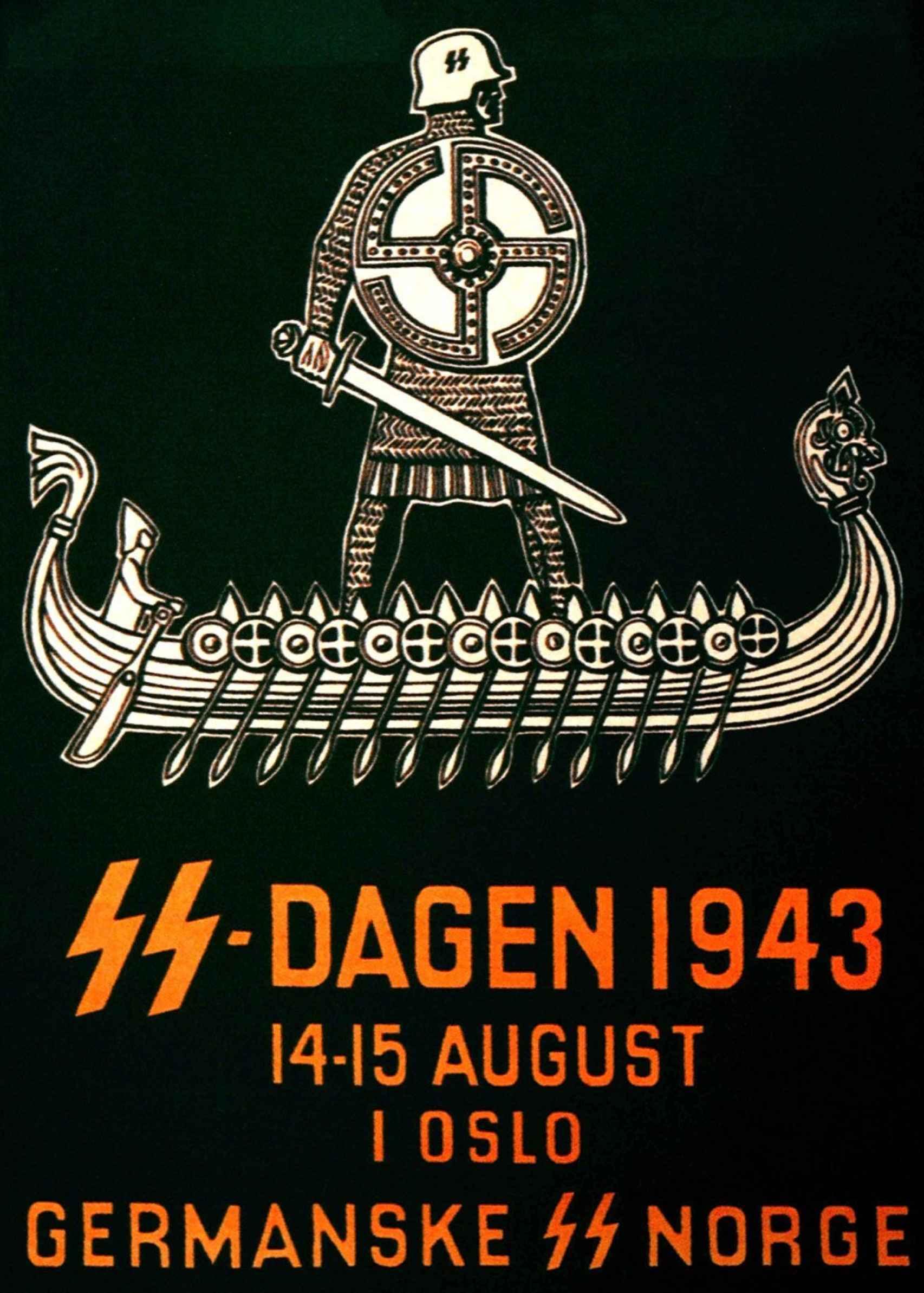 Un póster de reclutamiento de las SS que muestra cómo los nazis se apropiaron de los vikingos.