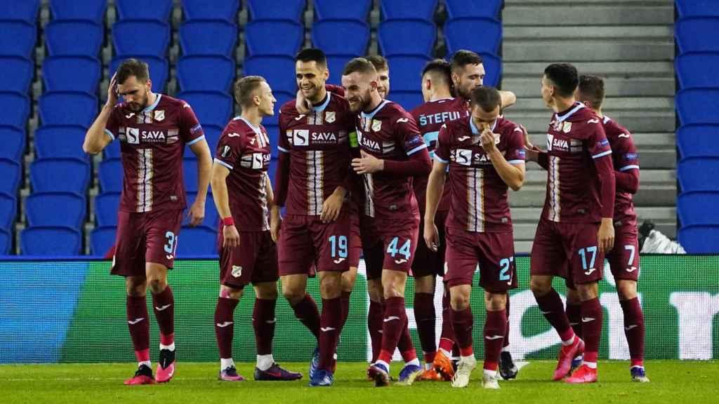El Rijeka celebra su gol ante la Real Sociedad