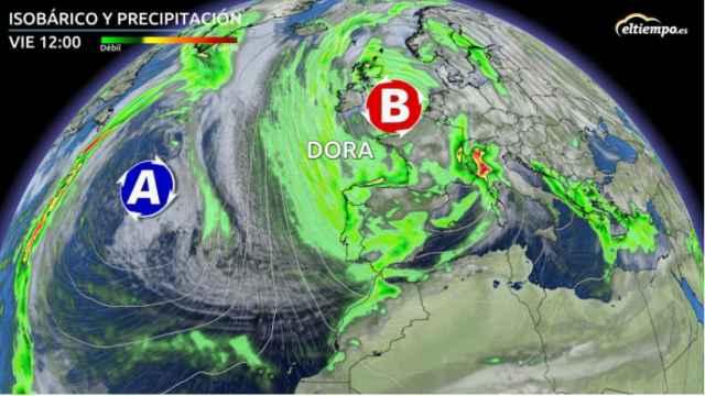 La situación de la borrasca Dora sobre España a partir del viernes. ElTiempo.es