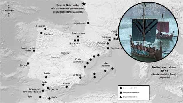 Mapa de la gran redada vikinga del Mediterráneo a mediados del siglo IX.