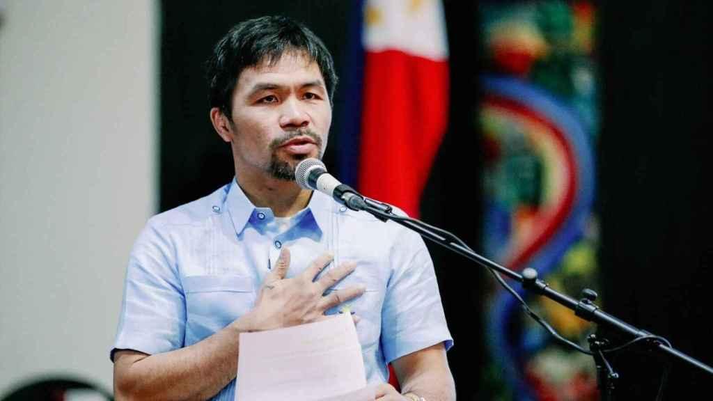 Manny Pacquiao, durante una comparecencia política