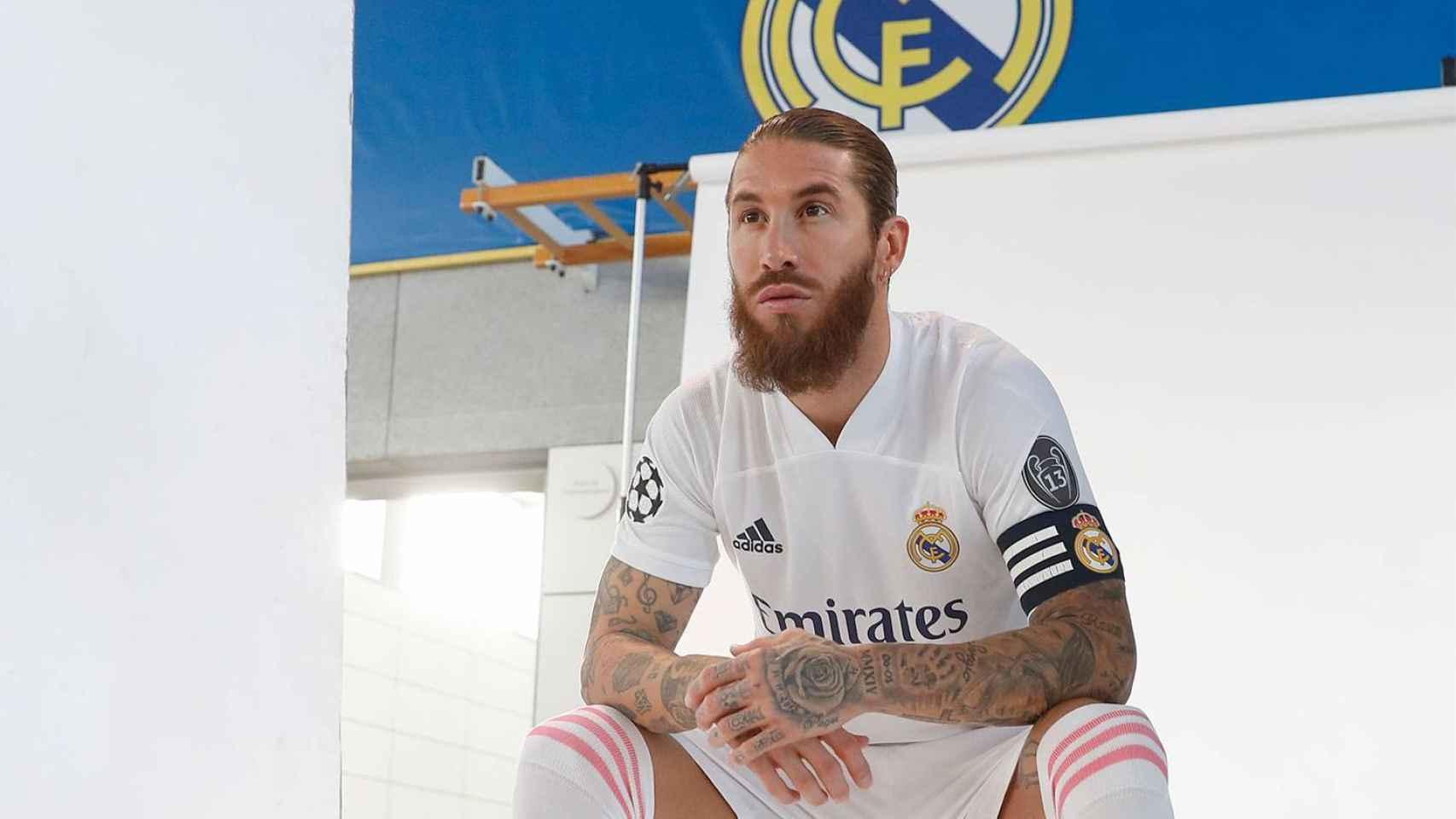 Sergio Ramos, durante la foto oficial de la temporada 2020/2021