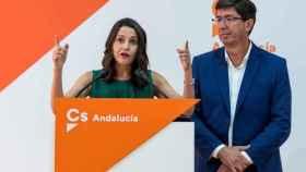 La líder de Cs, Inés Arrimadas, junto al vicepresidente de la Junta de Andalucía, Juan Marín.