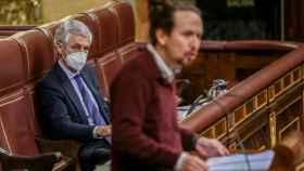 El vicepresidente Pablo Iglesias interviene durante una sesión plenaria en el Congreso de los Diputados.