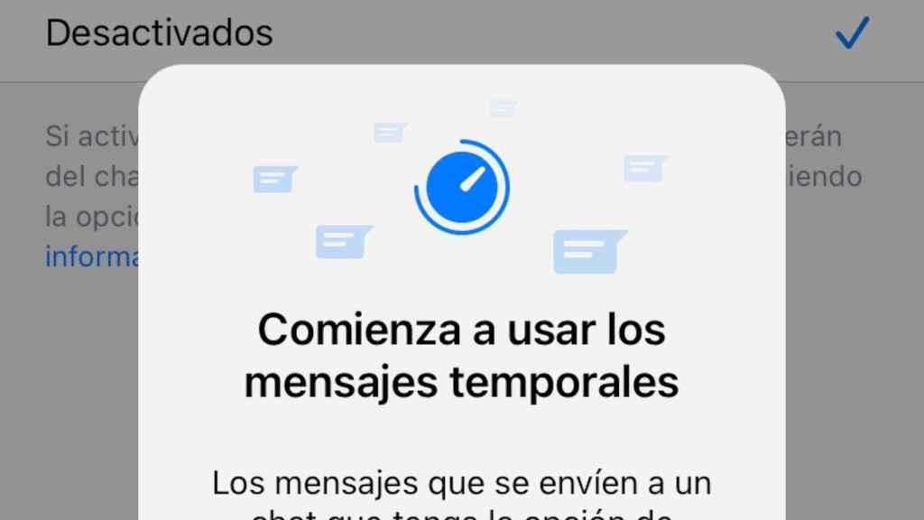 Aviso de mensajes temporales en WhatsApp