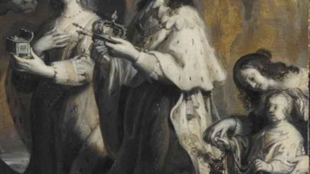 Luis XIII, su esposa Ana de Austria y el pequeño Delfín Luis haciendo ofrendas durante la natividad de 1639.