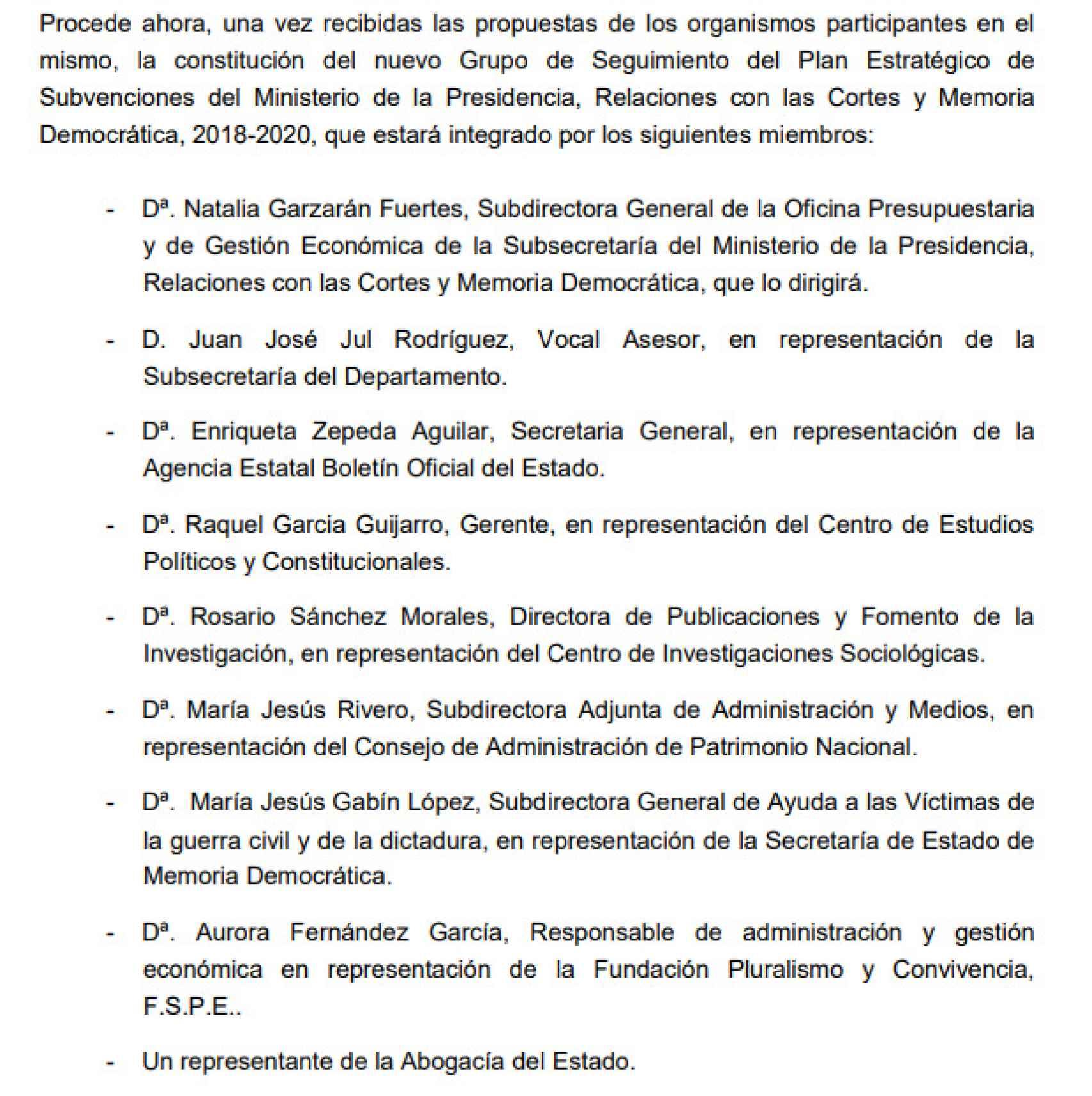 Composición del Grupo de Seguimiento del Plan Estratégico de Subvenciones del Ministerio de la Presidencia.