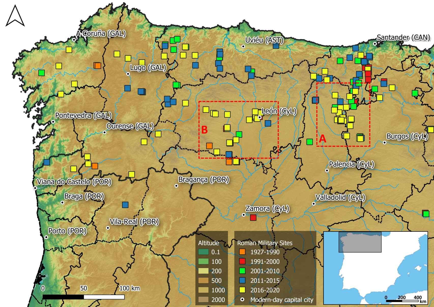 Cronología del descubrimiento de los recintos militares romanos en el noroeste de la Península Ibérica.  Los nuevos rodamientos están resaltados en cuadros de puntos.